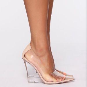 Fashion Nova clear nude wedges